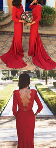 Elegant 3/4 Sleeves Mermaid Backless Prom Dresses,Bridesmaid Dresses Lace Appliques,Long prom dress, custom made evening dress,DR0730