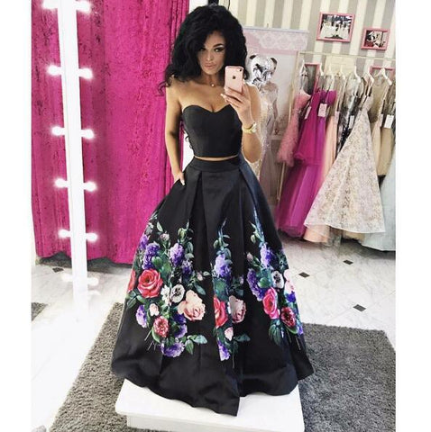 2 Piece Prom Dresses, Black Prom Dresses, Printed Prom Dresses, Simple Prom Dresses, Satin Prom Dress,DR0824