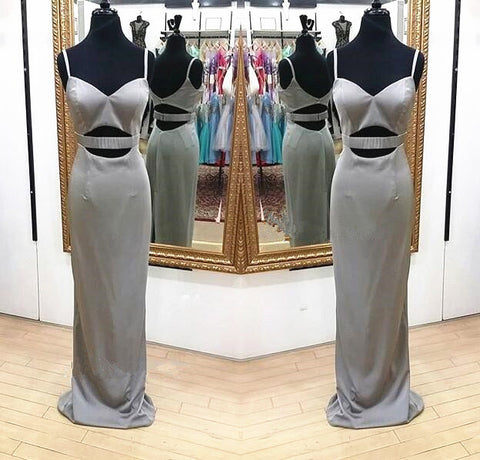 Silver Straps Sweetheart Fitted Long Prom Dress with Cut Out Waist,Floor Length Formal Gowns For Women,Satin Evening Dress,DR0965