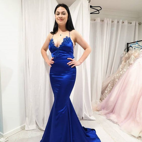 Sexy Royal Blue Mermaid Prom Dresses with Lace,Back Open Long Formal Dress,DR1012