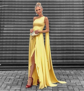 Yellow High Low Prom Dress One Shoulder Floating Sleeves High Split Formal Evening Dresses ,DR1014