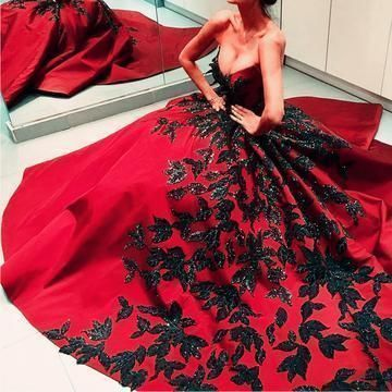 Black Embroidery Beaded Satin Strapless Ball Gowns Couture Evening Dress,DR1016