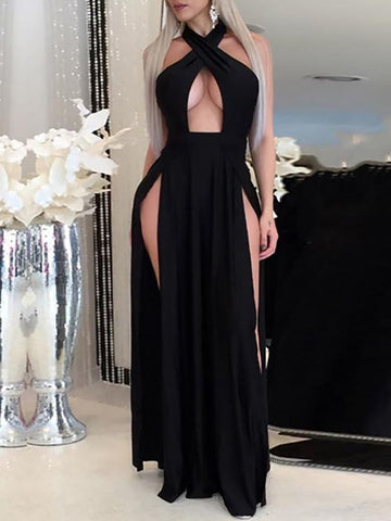 Sexy Halter Neck High Slit Prom Dress ,DR1019