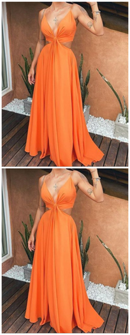 Deep V-neck Sexy A-line Long Prom Dresses,DR1023