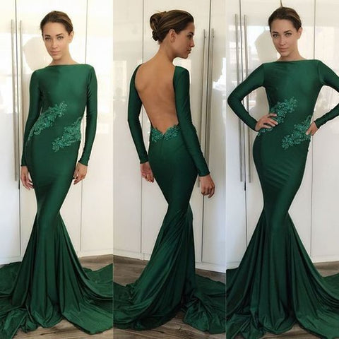 Backless Long Sleeves Dark Green Prom Dresses With Appliques Sexy Pageant Dresses Evening Gown,DR1024