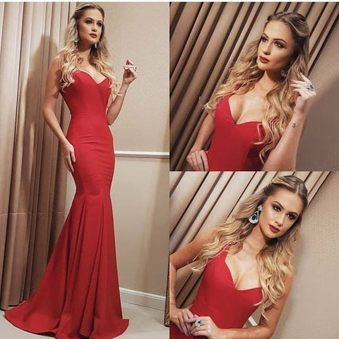 Sexy Prom Dresses,Red Prom Dress,Backless Evening Gown,Long Formal Dress,DR1025