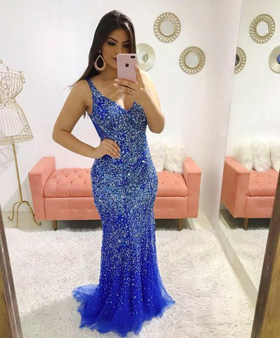 Charming Blue Beading Prom Dress,Sexy Sleeveless Evening Dress,Sexy Backless Beading Prom Dress,DR1027
