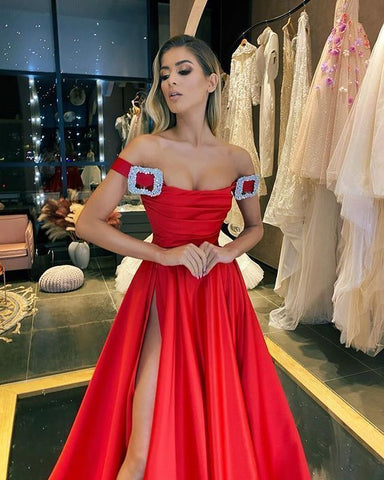 Off the shoulder prom dress with split,DR1030