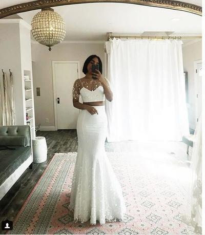 Simple Beach Wedding Dresses Boho Bridal Gowns Two Pieces Mermaid Wedding Dresses,DR1123