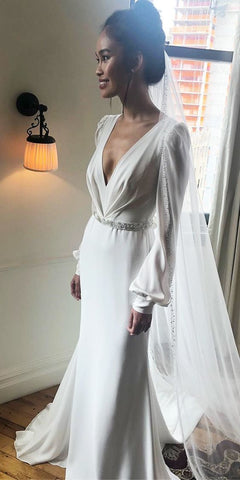 V Neck Long Prom Dress, Simple Wedding Dress,DR1136
