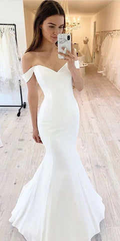 Simple Wedding Dress, Mermaid Wedding Dress, Off Shoulder Wedding Dress ,DR1145