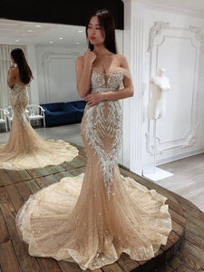 Sparkle Mermaid Wedding Dress/ Off the shoulder Prom Dress,DR1164