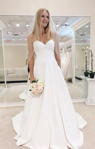 Charming Sweetheart neckline White Wedding Dress ,DR1175
