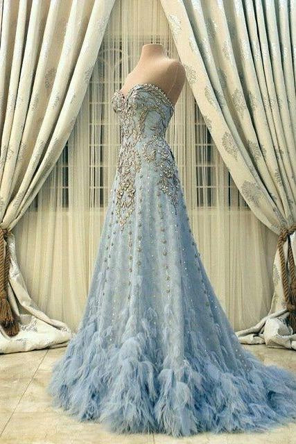 New Arrival Wedding Dress,Modest Prom Dress,Sweetheart Wedding Dress,Blue Wedding Dress, Beading Wedding Dress,DR1453