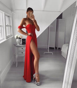 Sexy Mermaid Off the Shoulder Red Long Prom/Evening Dress Split Front,DR1461