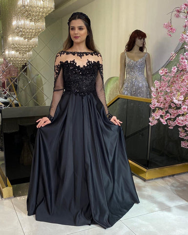 Glamorous A Line Bateau Black Long Prom/Evening Dress Appliques,DR1465