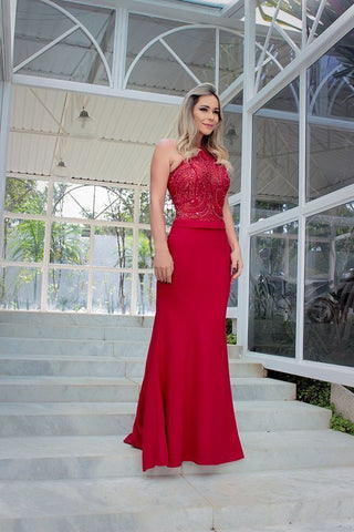 Halter Floor Length Prom Dress , Mermaid Prom Dress,DR1492