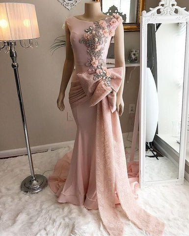 pink prom dresses 2021 scoop neckline lace appliques beading sequins mermaid pleats lace bowknot mermaid long evening dresses ,DR1496