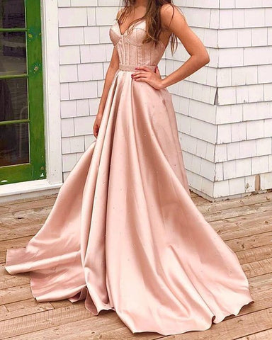 sexy long v neck prom satin dresses beaded corset formal gowns,DR1502