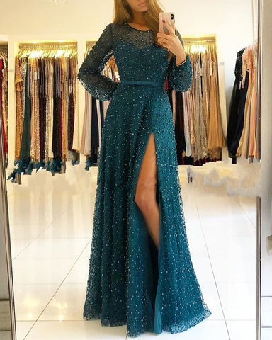 Floor Length Prom Dress With Split , Long Sleeves Prom Dress ,DR1504