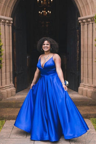 Royal Blue V-Neck Straps Satin Long Prom Dress with Pockets,DR1505