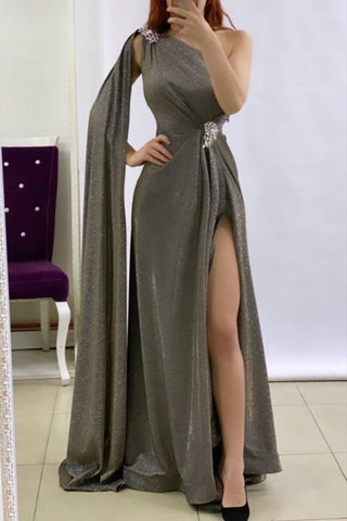 Silver Glitter Prom Dresses One Shoulder Mermaid Split Evening Gowns ,DR1507
