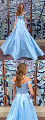 Off the Shoulder Blue 3D Flower Long Prom Dresses,DR1508