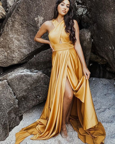 Criss Cross Satin Wax Yellow Simple Prom Dress with Side Slit ,DR1509