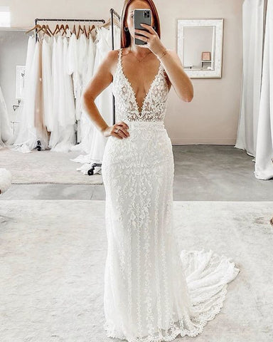 Deep V-neck Lace White Sheath Prom Dress,DR1512