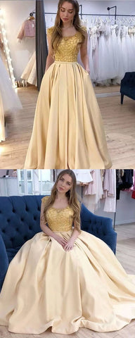 Scoop Neck Beading Bodice Yellow Prom Dress with Pockets,DR1513
