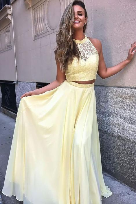 2 Piece Prom Dresses, Yellow Prom Dress, Long Prom Dance Dress,DR1665
