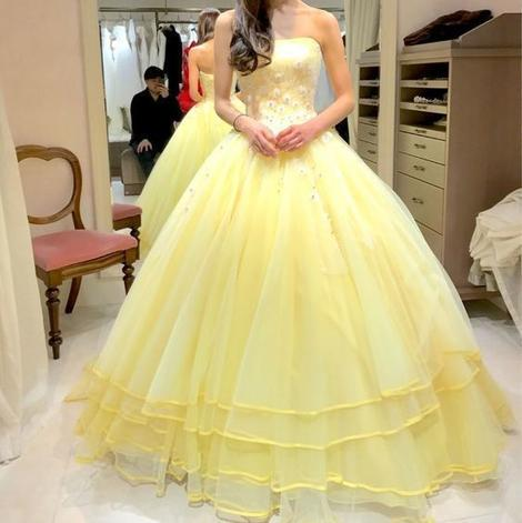Yellow Strapless Ball Gown , Evening Dress,Long Prom Dress,DR1696