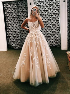 Backless Champagne Pink Long Lace Prom Dresses, Open Back Long Lace Formal Wedding Dresses,DR1731