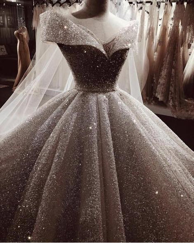 Ball Gown Sequins Wedding Dress Off The Shoulder,DR1744
