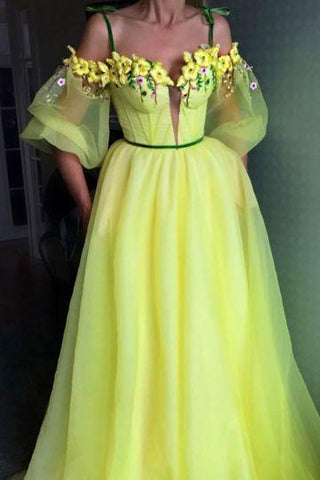 A line YELLOW Long Prom Dresses wedding dress,DR1896