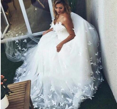 Sweetheart neck Tulle Appliques Wedding Dresses, Beautiful Bridal Gowns,DR2083