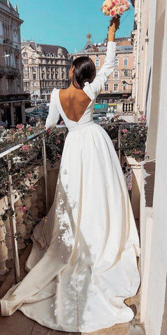 Modern 3/4 Sleeve White Open Back Formal Wedding Dress Bride Gown,DR2101
