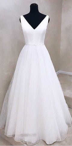 Fashion V neck White Wedding Dress Open Back Bridal Gown,DR2110