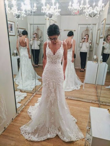V-Neck Mermaid Newest Wedding Dresses,Long Wedding Dresses,Cheap Wedding Dresses, Evening Dress Prom Gowns, Formal Women Dress,DR2355