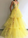 Yellow Tulle Prom Dress V Neck 3D Flower Vintage Evening Dress ,DR2742
