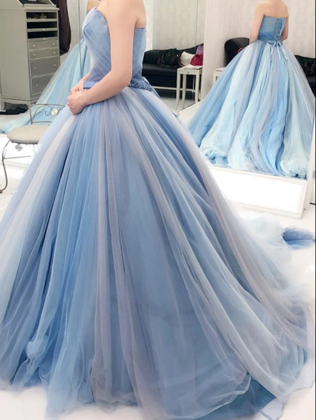 Strapless Ball Gown Prom Dress Tulle Colourful Customed Prom Dress ,DR2743