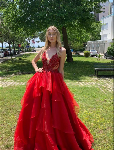 Red Charming A-line V-neck Sleeveless Appliques Prom Dresses,DR2744