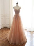 A Line Beading Prom Dress Cheap Beauty Tulle Evening Dress,DR2746