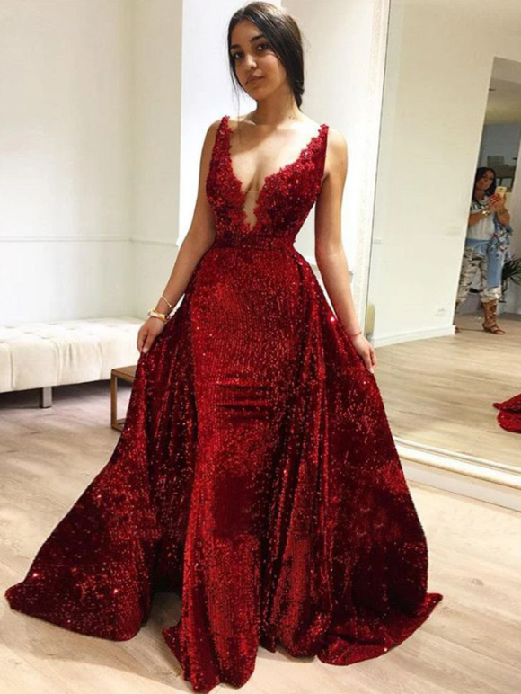 Mermaid Sequins Prom Dress Red Vintage Beauty Prom Grown,DR2750