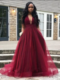 Chic A Line Prom Dress V Neck Cheap Burgundy Prom Grown,DR2752