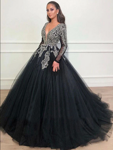 Ball Gown Black Prom Dress Vintage Tulle Prom Grown With Sleeve,DR2753