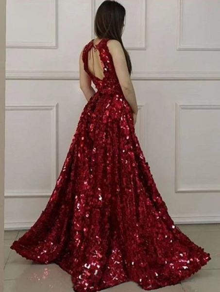 Burgundy Sequins Prom Dress Sheath Cheap Sexy Long Prom Dress,DR2760