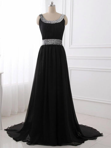 A-line Scoop-Neck Sweep Train Tulle Black Prom Dresses With Sequins,DR2795