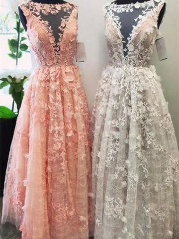A-line Illusion Floor-Length Tulle Appliqued Prom Dresses,DR2797