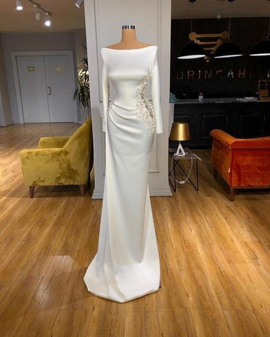 Stunning white long sleeve prom dress ,DR2799